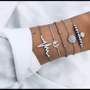 Heartbeat stacked silver bracelet set nurse gift